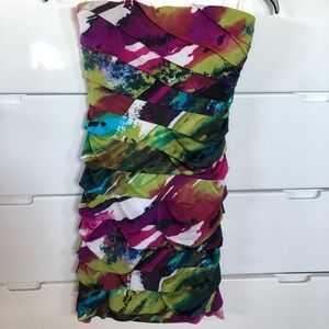 Multicolor Tropical Strapless Dress